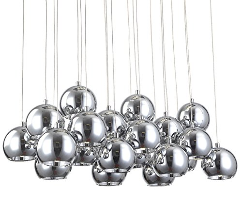 XL Led Hängelampe Deckenlampe Pendellampe Kugel Lampe Leuchte Kugelleuchte Chrom modern edel 70x25cm Lewima Amalia