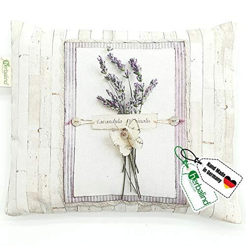 HERBALIND Lavendelkissen zum Schlafen Motiv Strauß - Schlafkissen 20x25cm gefüllt mit getrockneten Lavendelblüten und Schafschurwolle, Lavendel Nachtkissen, Schlafhilfe bei Schlafstörungen