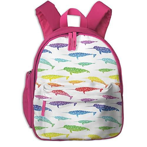Kinderrucksack für Mädchen, Rainbow Narwhales - Unicorns of The Sea_4430 - Booboo_Collective, Für Kinderschulen Oxfordstoff (pink)