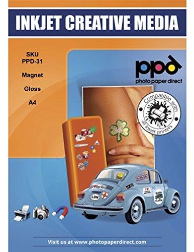 PPD DIN A4 Inkjet Magnet Fotopapier (Magnetpapier) für Tintenstrahldrucker Glänzend DIN A4 x 3 Blatt PPD031-3