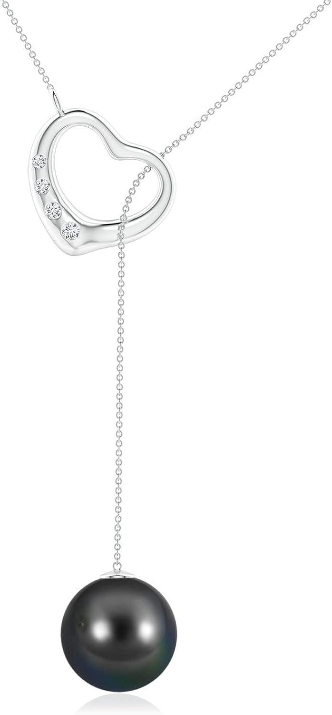 Tahitian Cultured Pearl Lariat-Style Heart Necklace (10mm Tahitian Cultured Pearl)