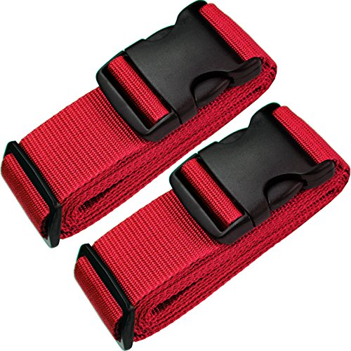 TRANVERS Luggage Straps for Suitcase Protection Heavy Duty Adjustable 2-Pack Red