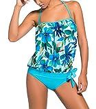 Aleumdr Tankini Costume da Bagno Donna Senza Schienale Tankini Donna Mare Push Up con Due Pezzi Costume da Bagno Tankini per Spiaggia Mare
