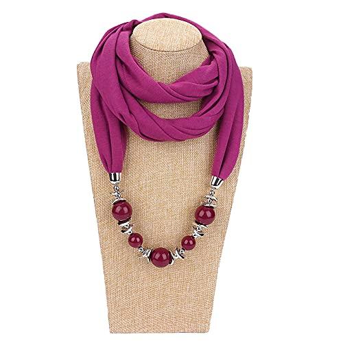 Gespout Moda mujer cuentas anillo collar bufanda Collar con estilo étnico Bufanda de collar de poliéster puro de color Accesorios de vestir para cualquier temporada