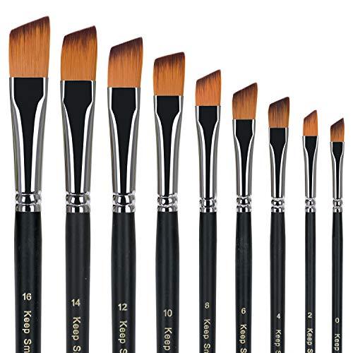 Pennelli Professionali Set 9pcs Pennello Acrilico per Capelli in Nylon a Punta obliqua per acquerelli acrilici.