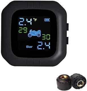 Onewell Motorcycle Tire Pressure Monitoring System, Waterproof Digital LCD Display,TPMS Motor Tire Pressure Monitor with 2 External Sensor