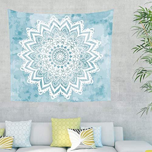 YxueSond - Sofá de salón con fondo fantástico Mandala Savanah azul claro decoración de ropa de cama estilo mediterráneo con impresión rectangular para colgar en la pared, Blanco, 40x59inch