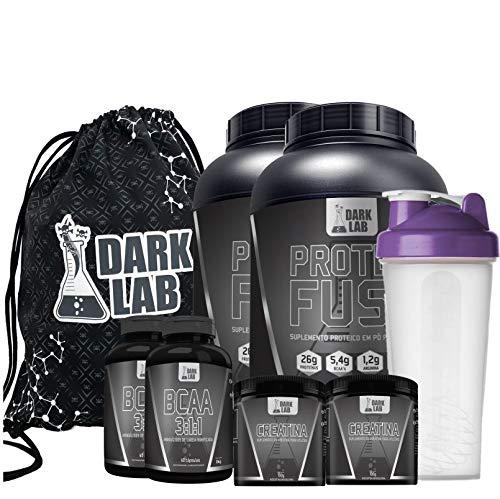 Combo 2x Protein Fuse 900g Choc/Bau + 2x Bcaa 60 Caps + 2x Creatina 100g + Coqueteleira Roxa + Bag Dark Lab