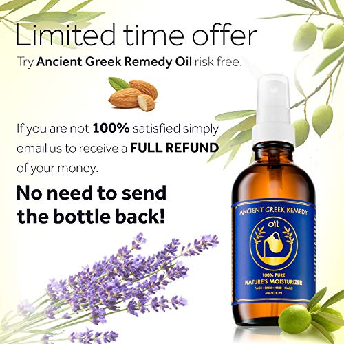 100% Organic Blend of Olive, Lavender, Almond & Grapeseed oil with Vitamin E, Daily Moisturizer for...
