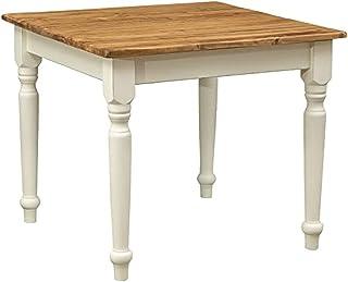Table à rallonge style champêtre en bois massif de tilleul avec structure antique blanche et plateau en finition naturelle...