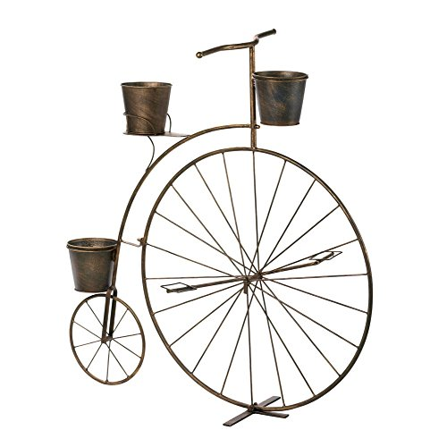 VERDUGO GIFT 10016041 57071321 Penny Farthing Bicycle Plant Holder, Brown