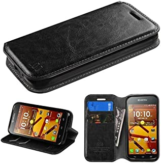 Customerfirst - Kyocera Hydro Wave C6740 Credit Card Dual-Use Flip PU Leather Fold Wallet Pouch Case Premium Leather Wallet Flip Case for Kyocera Hydro Wave - Includes Key Chain (WALLET BLACK)