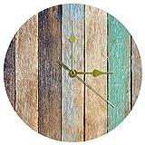 Yoliveya Reloj de pared redondo silencioso colorido de madera, no hace tictac, silencioso, para regalo, hogar, oficina,...