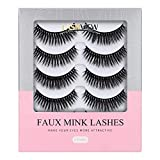 LASHVIEW False Eyelashes,Mink Fake Eyelashes,Comfortable and Soft,3D Natural Layered Effect,Handmade Lashes Wispies,Environmental Silk Lashes,lashes pack,Natural Look False Eyelashes for Makeup