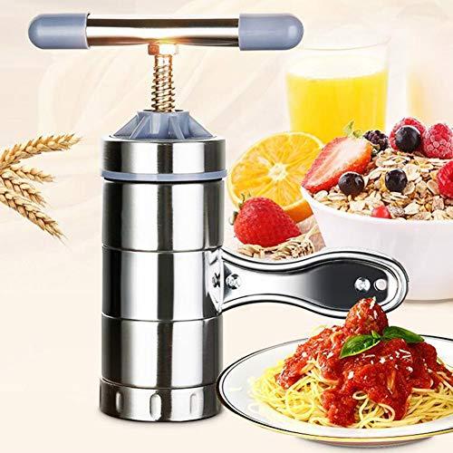 good01 Inicio Cocina Prensa Manual De Acero Inoxidable Máquina De Pasta | Ramen Noodle Maker Plata 2 moldes