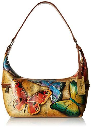 Anuschka Women's Leather Large Hobo/Shoulder Bag/Purse   Hand Painted Original Artwork   Earth Song -  510-EST