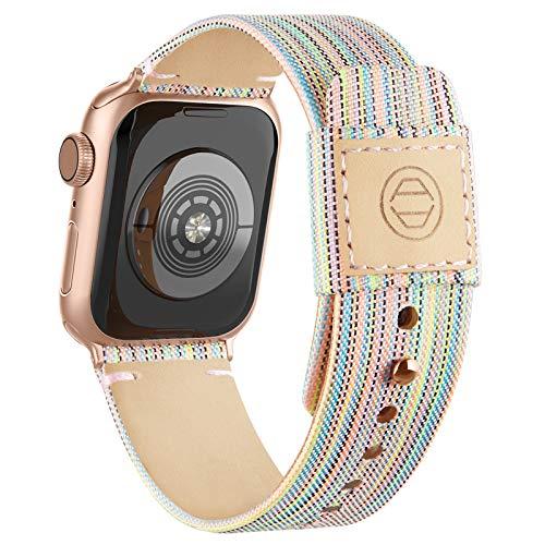 Goosehill Kompatibel mit Apple Watch Armband,Stoff Nylon Gewebt Ersatzband mit Leder Futter und Druckverschluss für iWatch Series 6/5/4/3/2/1 SE, Regenbogen 38mm/40mm