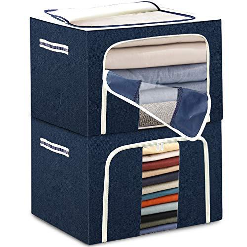Caja de almacenamiento apilable grande de ropa – 2 x 72 L, tela Oxford Tulab para edredones y almohadas, con marco de metal, ventana transparente, asas reforzadas, resistente al agua, color azul