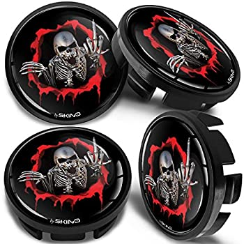 4 x Universal Wheel Centre Alloy Hub Center Caps Compatible with VW Part Number  3B7601171 Hubcaps Black Skull Middle Finger 65mm CV 20