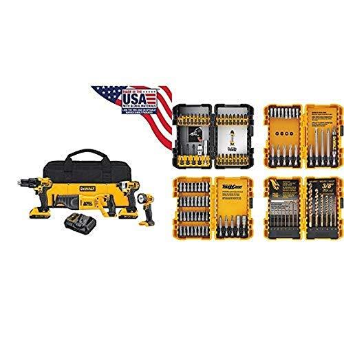 DEWALT 20V MAX Combo Kit, Compact 4-Tool (DCK420D2) with DEWALT DWA2FTS100 Screwdriving and Drilling Set, 100 Piece