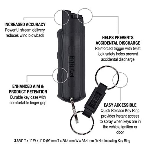 SABRE RED Pepper Spray Keychain with Quick Release for Easy Access – Max Police Strength OC Spray, Finger Grip for… 5