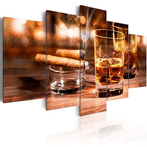 murando - Bilder Zigarre und Whisky 200x100 cm Vlies Leinwandbild 5 TLG Kunstdruck modern Wandbilder XXL Wanddekoration Design Wand Bild - Alkohol Drink Bar Holzoptik 030106-13