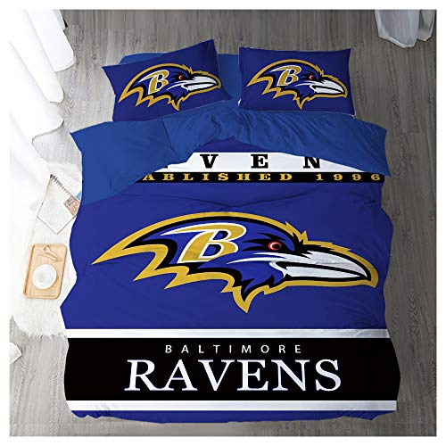 HOXMOMA NFL Bedding Set with Baltimore Ravens Pattern, Microfiber Duvet Cover Set and 2 Pillowcases, Bedding for American Football Fans,Blue,US 203x228