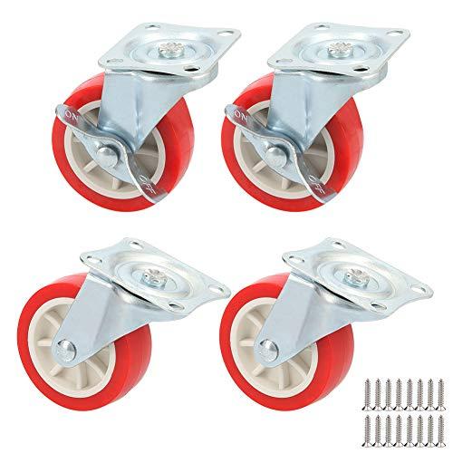 Tesosy 4 Ruedas giratorias para Muebles sin Freno,diámetro 75mm Ruedas hasta 240kg,Ruedas...