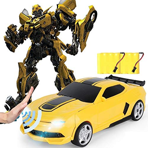 Kikioo 1/14 Gesto Inducción Transformador de control remoto inalámbrico de coches, Bumbebe Rc Autobots Vehículo 360 ° de rotación de un botón rápido Drift Stunt Racing Cars niños cumpleaños de los muc