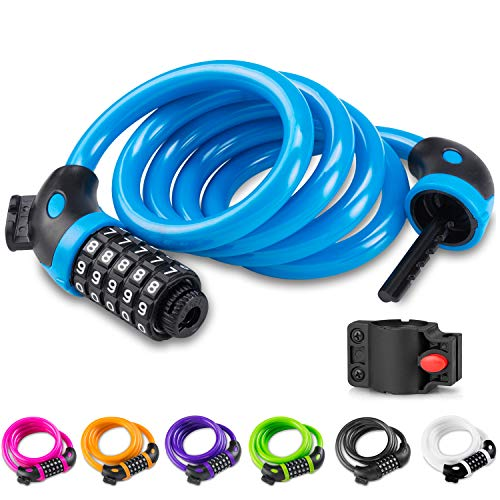 Opaza Bike Lock with 5-Digit Code, 1.2m/4ft Bicycle Lock Combination Cable Lock Lightweight & Security Bike Chain Lock for Bicycle, Mountain Bike, Scooter (Blue)