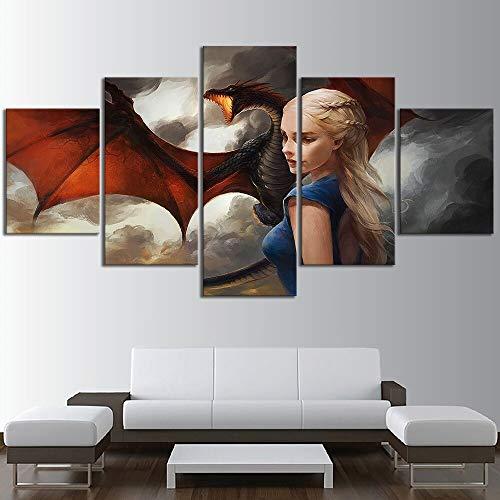 HJKIO 5 piezas de pintura al óleo sobre lienzo, personajes de películas, juego de tronos, pósters con imágenes de alta definición, decoración del hogar para la sala, murales en lienzo(Size1 Sin marco)
