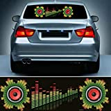 Car Music Rhythm LED Lamp for Rear Windshield - Sound Audio Activated Stickers Equalizer Glow LED Flash Light for Halloween Party, 3ft x 5/6ft €