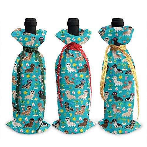 3 fundas para botellas de vino, diseño náutico, para decoración