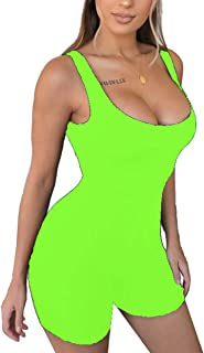 Women's Sexy Sleeveless Tank Tops Backless Short Jumpsuits One-Piece Bodysuit Sports Jumpsuit