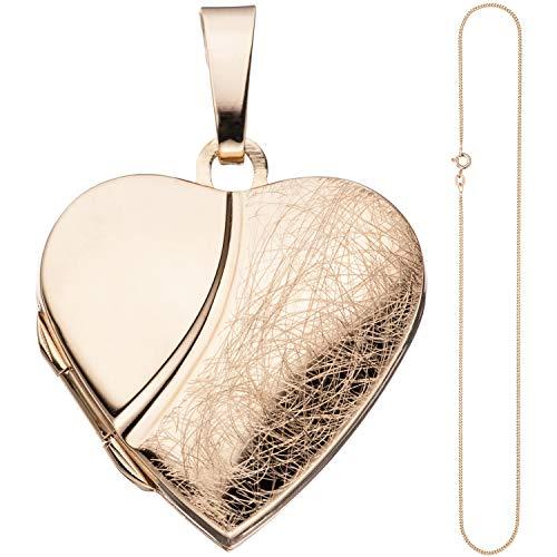 JOBO Damen Medaillon Herz Anhänger zum Öffnen 925 Silber rosegold vergoldet mit Kette 45 cm