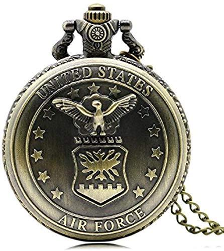 huangshuhua Reloj de Bolsillo Retro Bronce Air Force Eagle Stars Reloj de Bolsillo con Cadena Colgante Antiguo de Cuarzo para Hombres y Mujeres