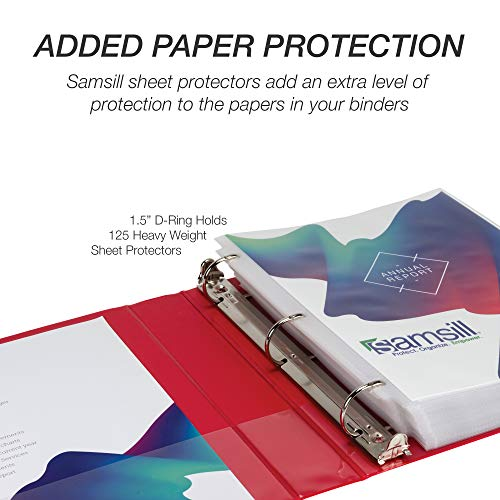 Samsill Durable 1.5 Inch Binder D Ring/Red Binder/Customizable Clear View Binder/Bulk Binder 4 Pack/Red 3 Ring Binder / 1.5 Inch Binder Photo #8