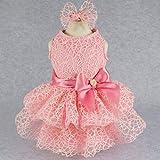 Fitwarm Luxury Pink Lace Dog Tutu Dress Pet Wedding Clothes Shirts + Matching Hair Clip, Pink, Medium