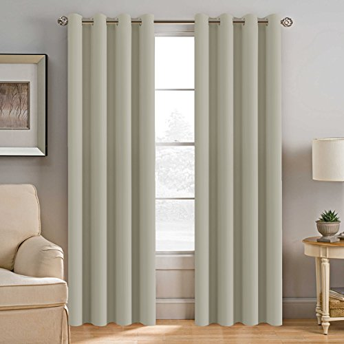 H.VERSAILTEX Extra Long Room Darkening Window Treatment Panels for Bedroom Living Room, Thermal Insulated Solid Grommet Curtains for Nursery (2 Panels, Cream, 52 Inch by 108 Inch)