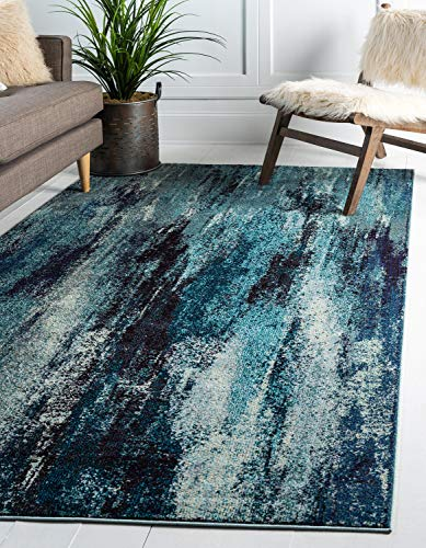 blue area rug for high traffic