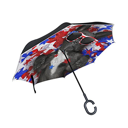 My Daily Double Layer Inverted Umbrella Cars Reverse Umbrella French Bulldog Independence Day Windproof UV Proof Travel Outdoor Umbrella