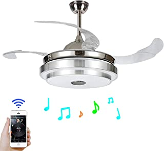 FINE MAKER 42`` Ceiling Fan Light with LED Integration Three-Color Light Smart Bluetooth Speaker Music Player and Remote C...