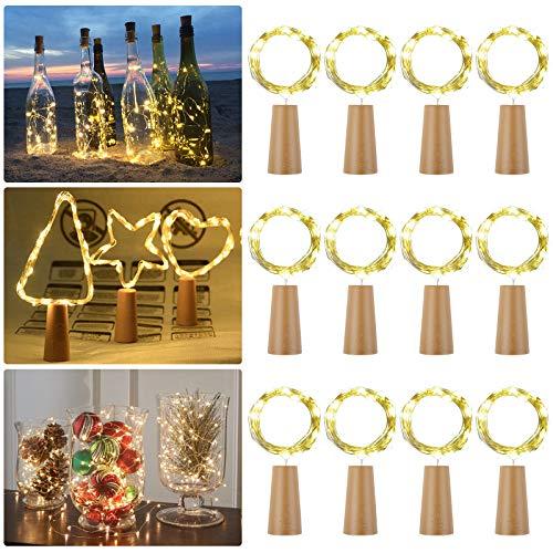 12 Stück LED Flaschenlicht, 2M 20 LEDs Flaschen Licht Warmweiß, Lichterkette Weinflasche Lichter mit Kork Schnurlicht für Party Weihnachten, Hochzeit oder Stimmung Lichter (color1)