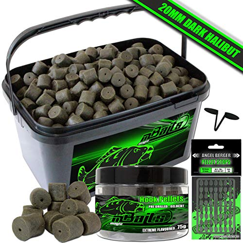 Angel-Berger Magic Baits Pellet Set im Eimer Halibut Pellet (Dark Halibut, 14mm)