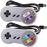 Number-one SNES USB Controller 2 Pack Wired Retro SNES Gamepad Controllers for Super Nintendo with 5ft USB Extension Cables Joypad Controllers for Windows Laptop PC Mac and Raspberry Pi System