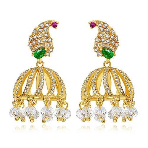 Jingmeizi - 1 par de pendientes de cristal retro étnico indio de circonita con forma de campana, borla y colgante para mujer, joyería de novia, regalos de boda, decoración de fiesta