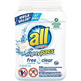 all Mighty Pacs Laundry Detergent, Free Clear for Sensitive Skin, Unscented, Tub, 67 Count, packaging may vary