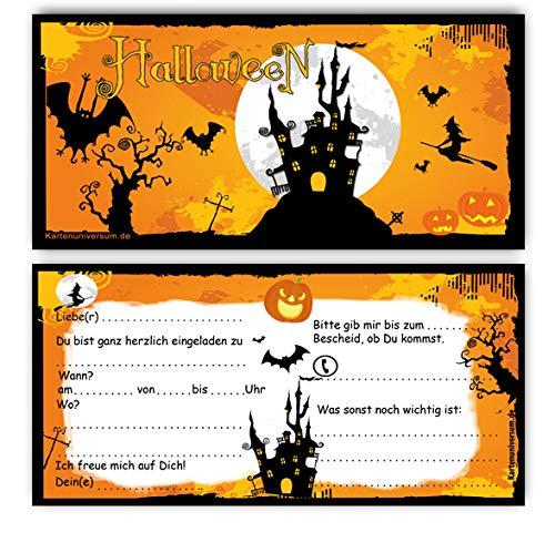 Einladung 12 Karten + Umschläge Einladungskarten Motiv: Halloween Grusel-Party Horror-Party im Set z.B. Kinder-Geburtstag Erwachsene Sarg Halloweenparty