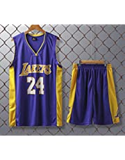 JX-PEP Uniformi di Pallacanestro Lakers # 24 retrò Basket Maschili Estate Maglie da Ventilatore Camicia Maglia Senza Maniche Sportswear Uniformi Sportivi Traspiranti,Viola,XXXL