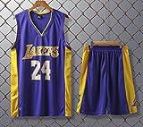 JX-PEP Divise da Basket Lakers # 24 Kobe Bryant Retro Camicia di Pallacanestro Estate Maglie Fan Uniformi Vest Maniche Sportivo Traspirante Sport,Viola,XL